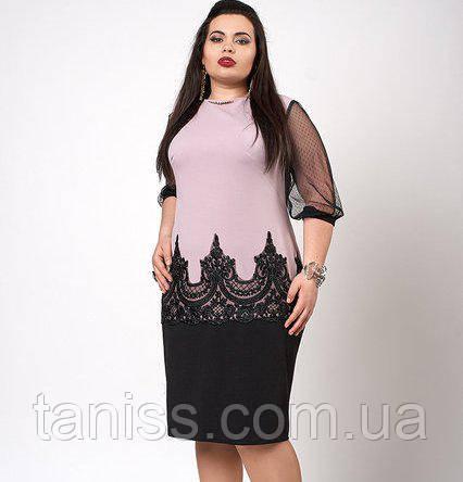Ошатне плаття з креп-дайвінгу з рукавом сіточка, р-р 48-50, блідо-бузкове
