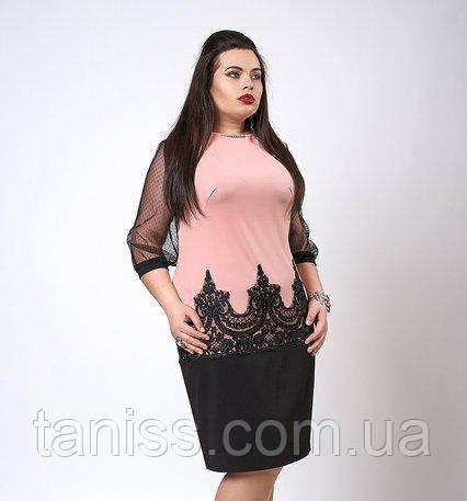 Ошатне плаття з креп-дайвінгу з рукавом сіточка, р-р 48-50,50-52,52-54,54-56 пудра