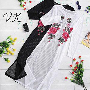 Пляжная накидка из сетки с длинным рукавом и вышивкой 42-44 р