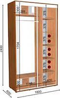 Шкаф-Купе с двумя фасадами 1800х600х2400 Влаби