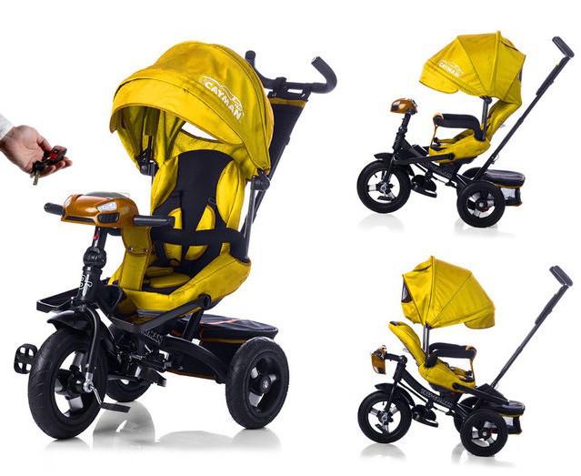 Детский трехколесный велосипед Tilly Cayman T-381 желтый, с пультом управления, колеса надувные