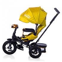 Детский трехколесный велосипед Tilly Cayman T-381 желтый, с пультом управления, колеса надувные, фото 3