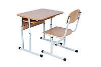 Комплект стол ученический 1-местный с полкой, №4-6 + стул Т-образный с покрытием HPL, №4-6