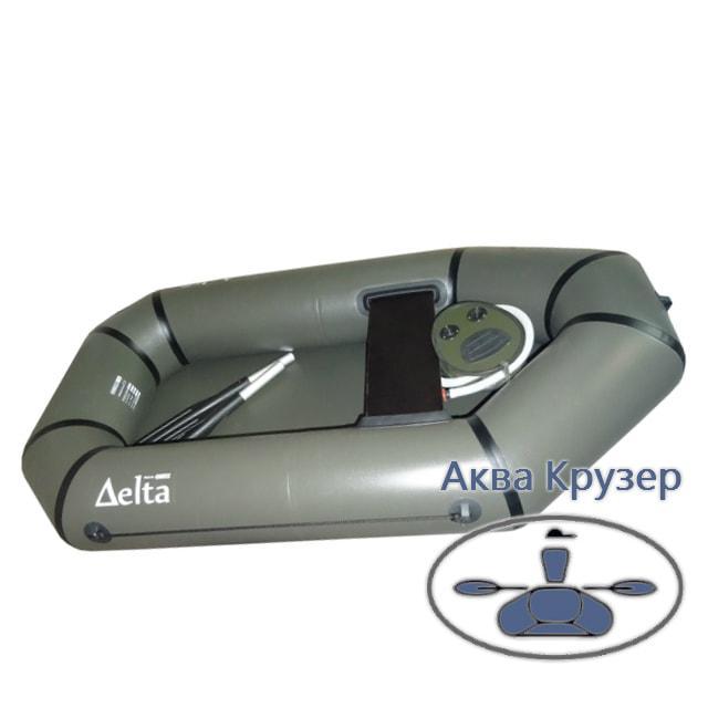 Надувная гребная лодка ПВХ Дельта (Омега) 190, цвет хаки, легкая модель для рыбалки и охоты