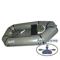 Гребний човен надувний ПВХ Дельта (Омега) 190, колір хакі, одномісна легка модель для риболовлі та полювання