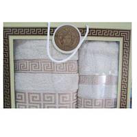 Подарочный набор махровых полотенец Бежевые с рисунком