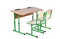 Комплект стол ученический 2-місний без полки антисколіозний, №4-6+стул Т-образный, №4-6