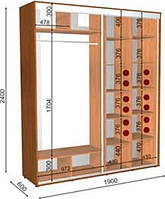 Шкаф-Купе с двумя фасадами 1900х600х2400 Влаби