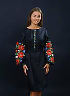 Черное женское платье вышиванка, арт. 4152