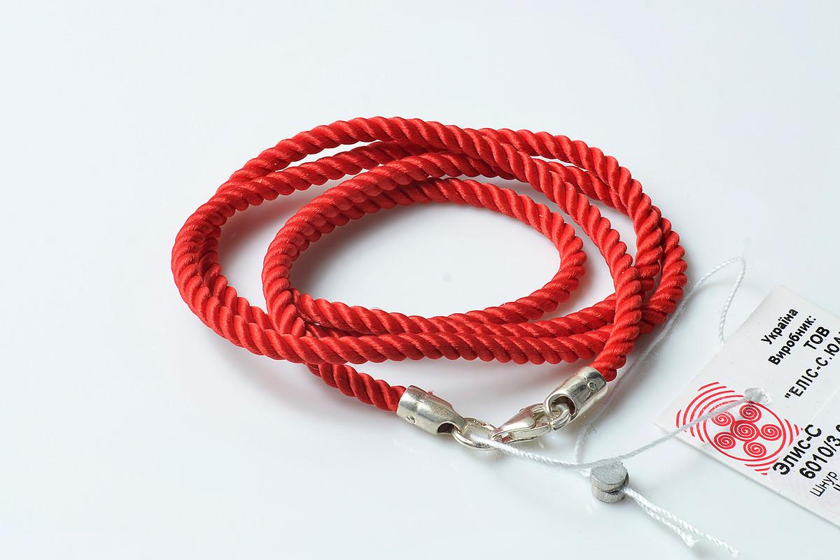 Красный крученый шнурок на шею с серебряным замком