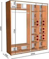Шкаф-Купе с двумя фасадами 2000х600х2400 Влаби