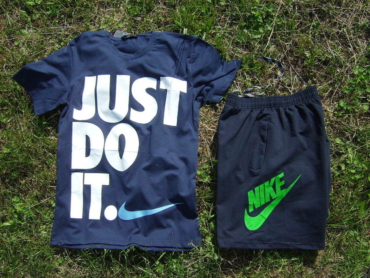 Мужской комплект футболка + шорты Nike синего цвета (люкс копия)