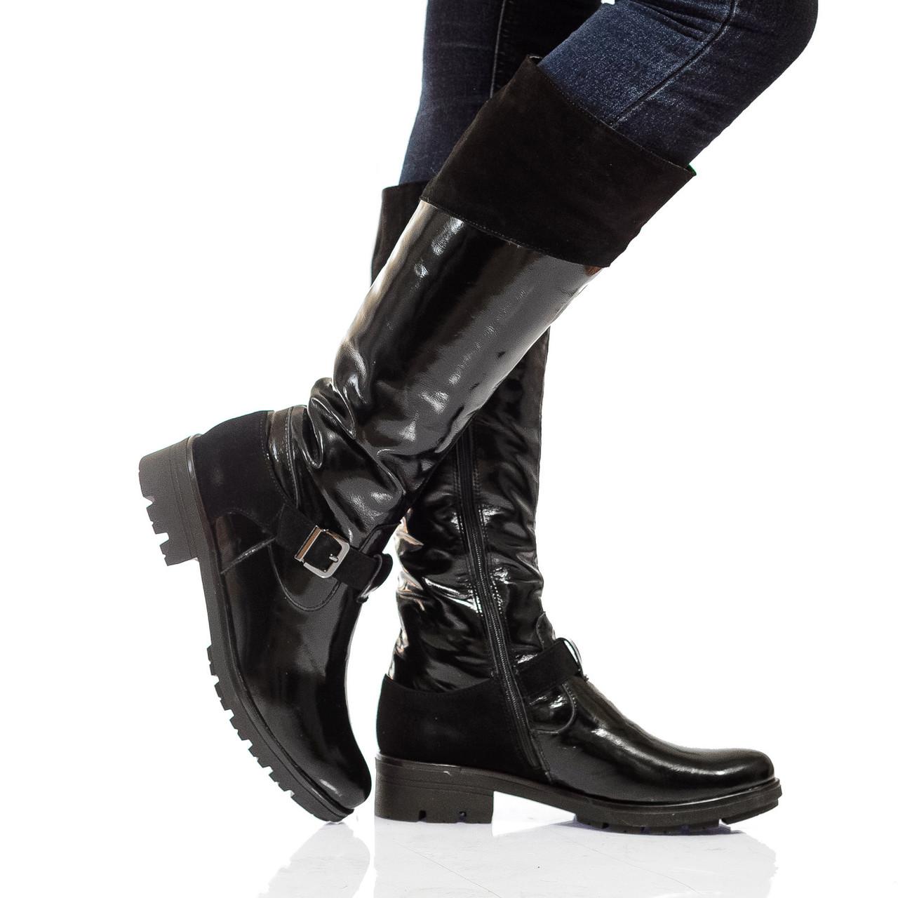 Сапоги на низком каблуке, из натуральной кожи, замша, на молнии. Три цвета! Размеры 36-41 модель S2243