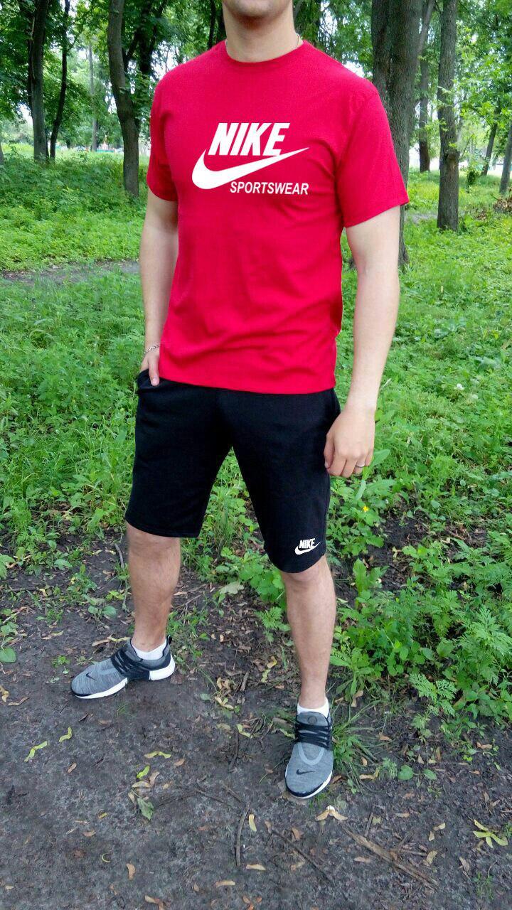 Мужской комплект футболка + шорты Nike красного и черного цвета (люкс копия)