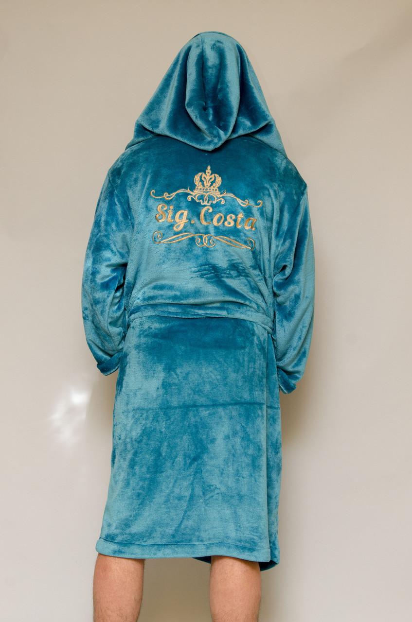 0f4ea421757fcc4 Именной махровый халат мужской с капюшоном изумруд - Интернет-магазин  CarambOla в Харькове