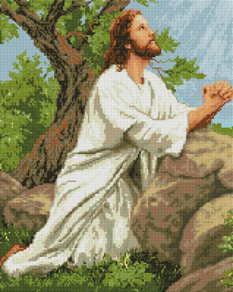 """Набір для алмазної мозаїки """"Молитва Ісуса"""" 40х50см GF1290"""