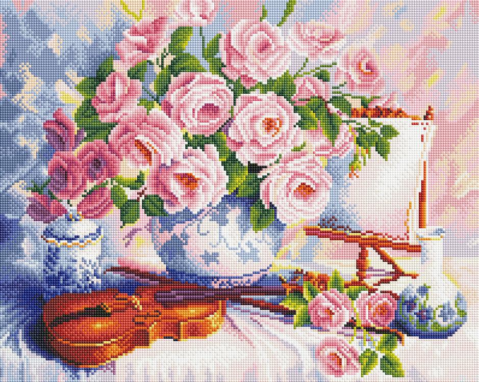 """Набір для алмазної мозаїки """"Рози і скрипка"""" 40х50см  GF498"""