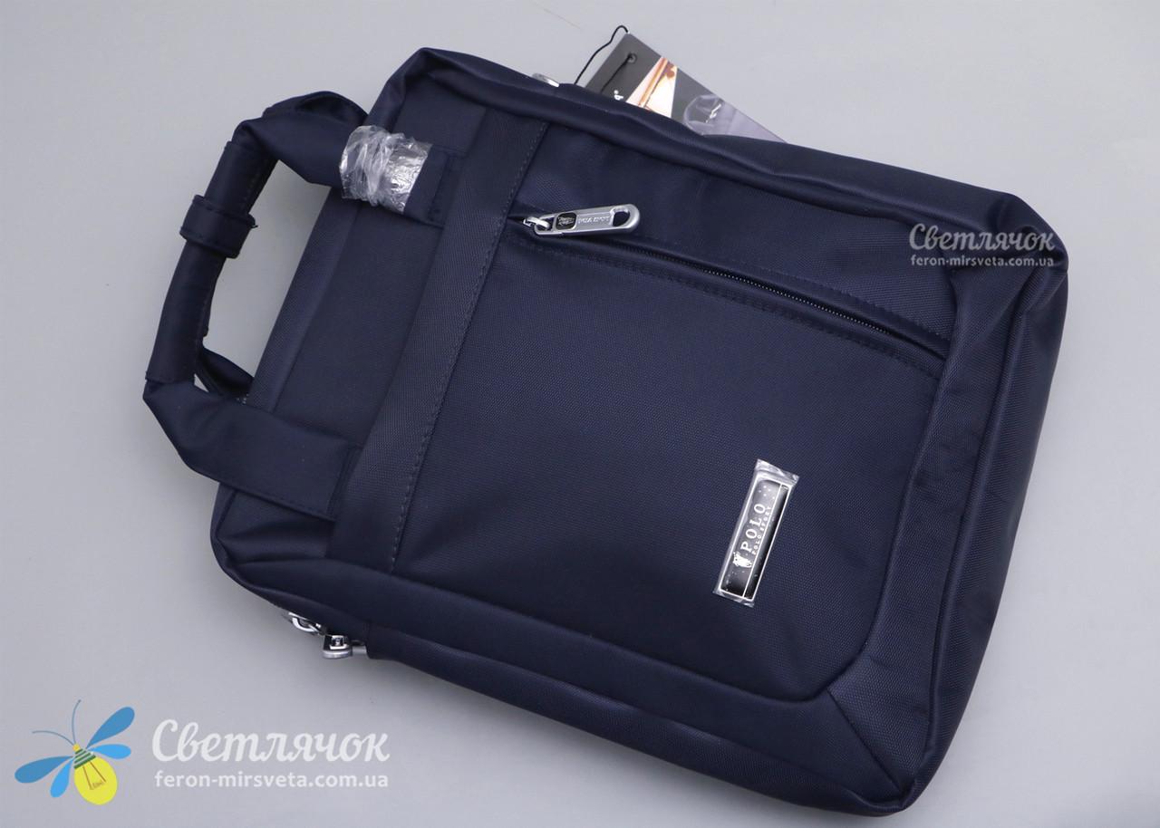 Сумка планшет мужская текстильная через плечо синяя POLO