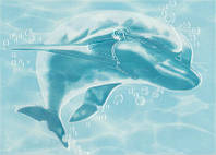 Декор ЛАЗУРЬ Дельфин/Касатка 25x35 бирюзовый