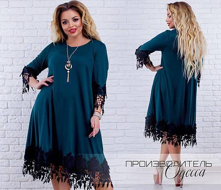 Нарядное трикотажное платье с кружевом батал  продажа, цена в Одессе ... c66c451344a