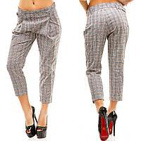 Женские брюки-капри прямого кроя с поясом