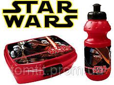 """Набор """"Star Wars - Звездные войны"""". Бутылка и  Ланч бокс (ланчбокс) , цвет красный"""