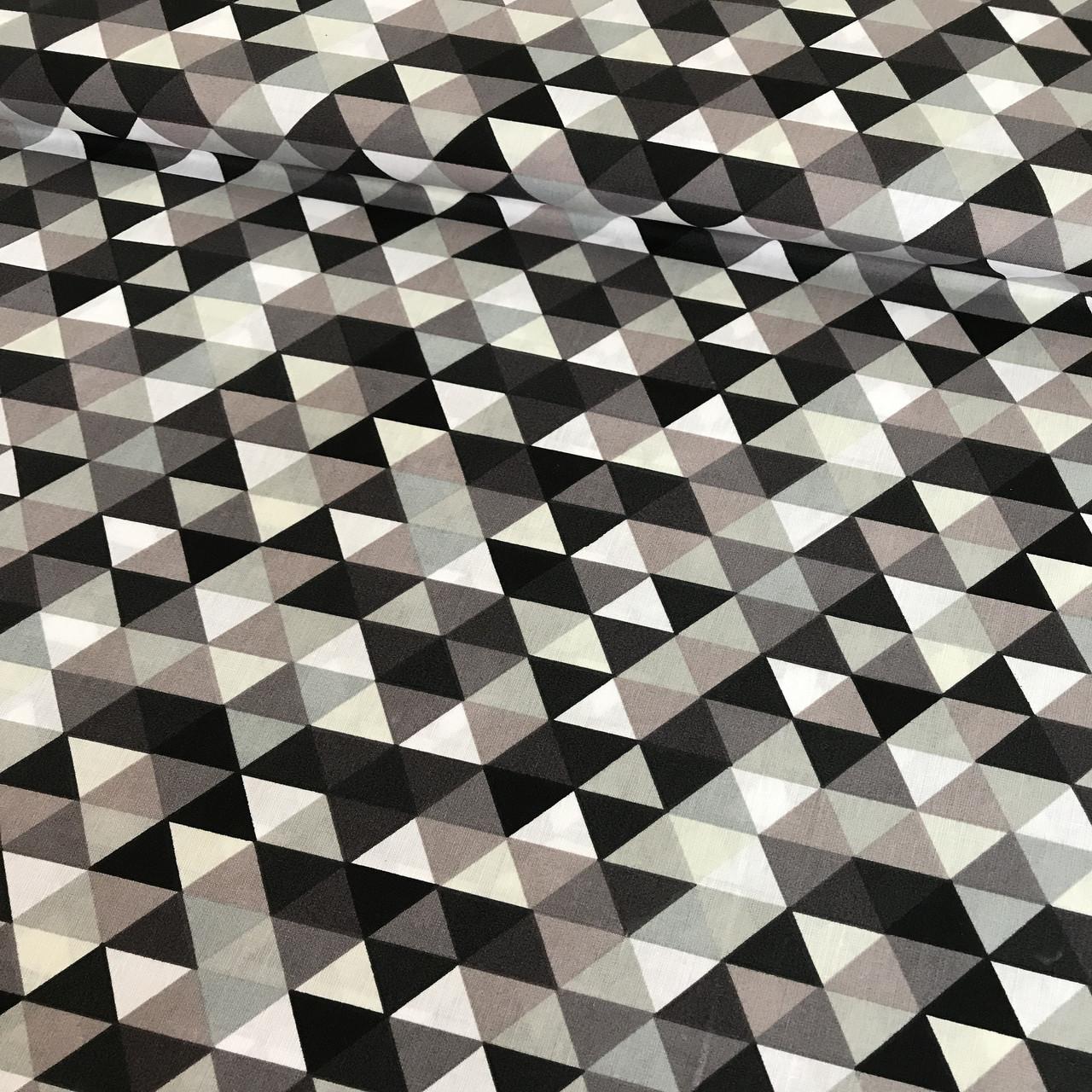 Бавовняна дитяча бязь польська трикутники дрібні бежеві, сірі, графітові №60