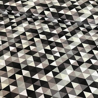 Хлопковая детская бязь польская треугольники мелкие бежевые, серые, графитовые №60