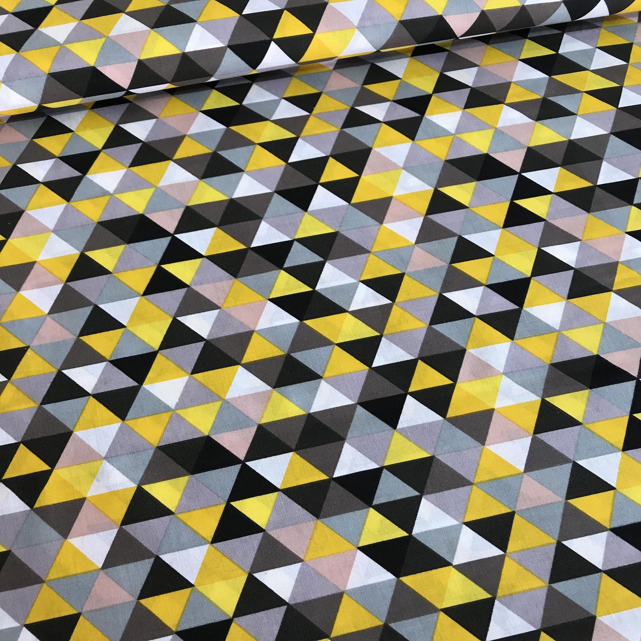 Хлопковая детская бязь польская треугольники мелкие желтые, пудровые, серые, графитовые №59