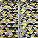 Хлопковая детская бязь польская треугольники мелкие желтые, пудровые, серые, графитовые №59, фото 3