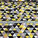 Хлопковая детская бязь польская треугольники мелкие желтые, пудровые, серые, графитовые №59, фото 4
