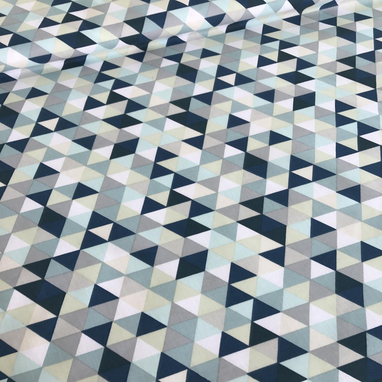 Хлопковая детская бязь польская треугольники мелкие синие, голубые, бежевые, бирюзовые №58
