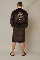 Именной махровый халат мужской шоколад без капюшона
