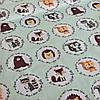 Хлопковая ткань польская звери в кружочках на мятном №57