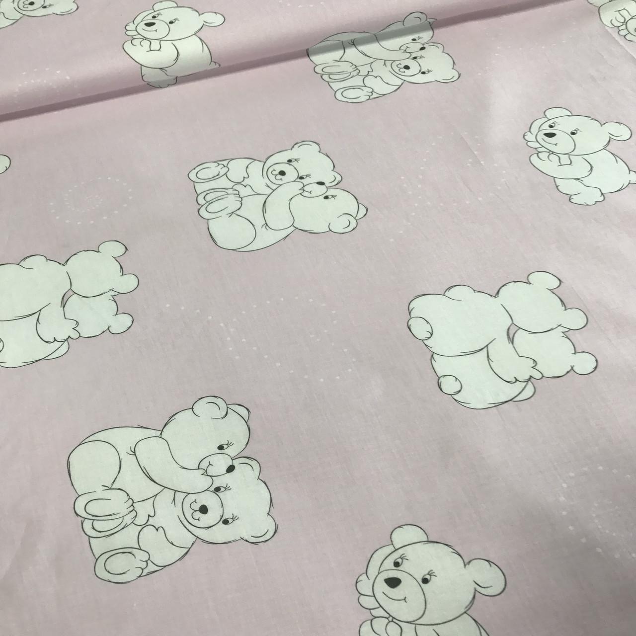 Бавовняна тканина ЛЮКС польська білі ведмедики на рожевому №53