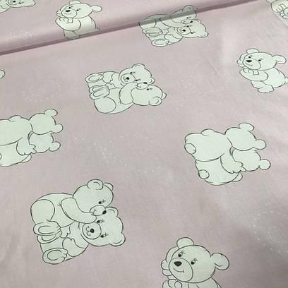 Хлопковая ткань ЛЮКС польская мишки белые на розовом №53
