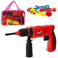 Набор инструментов детский 2004-27A, дрель-механич, рулетка, гаеч.ключи