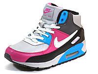 Найк Air Max 90 кроссовки зимние на меху розовые/серые/синие женские кожаные, р.  37 38