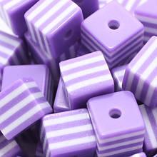 Бусины из Смолы полосатые, Кубики,, Цвет: Фиолетовый, Размер: Длина 8мм, Ширина 8мм, Толщина 8мм, Отверствие 1.5мм, (УТ000004826)