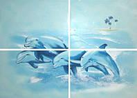 Декор ЛАЗУРЬ Дельфин 50x70 бирюзовый (4шт)