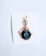 Кулон крупный черный  кристалл  Xuping Позолота 585 проба