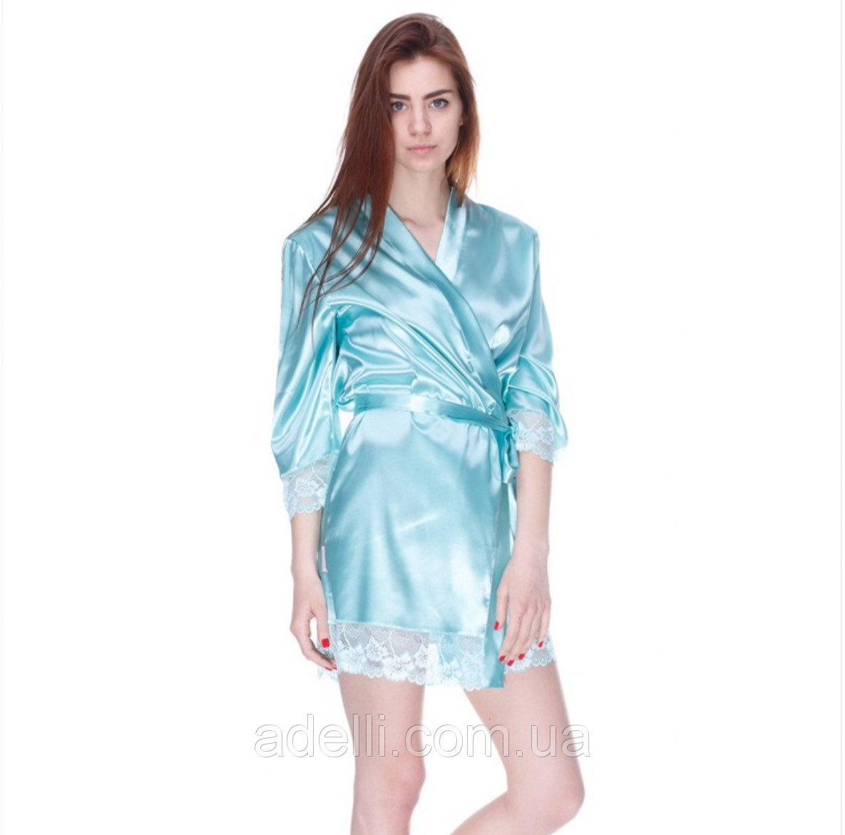 Атласный халат с кружевными вставками Serenade 2061