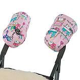 Муфта для рук на ручку коляски/санок Рисунки на Розовом фоне ТМ ДоРечі, фото 2