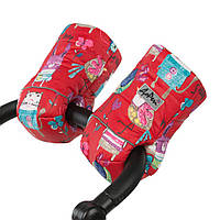 Муфта для рук на ручку коляски/санок Рисунки на Красном фоне ТМ ДоРечі