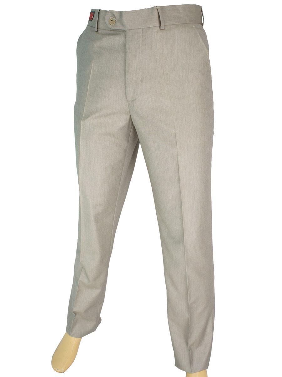 Класичні чоловічі брюки Monzeratti 0679 beige struct в бежевому кольорі