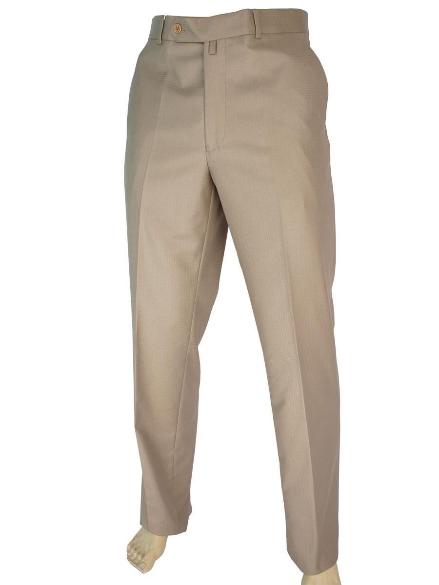 Чоловічі класичні брюки Monzeratti 0679 light kahve cell світло-коричневого кольору