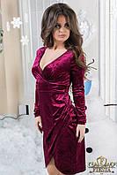 Велюровое бордовое женское платье с глубоким декольте на запах. Арт-6327/15, фото 1