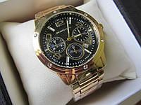 Стильные часы  унисекс золото+черный циферблат, фото 1