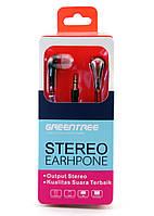 Наушники Greentree GT-ER10 Black/Red, Mini jack (3.5 мм), вакуумные, кабель 1.2 м