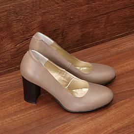 Туфли женские кожаные кофейные на высоком каблуке размер 36, 37